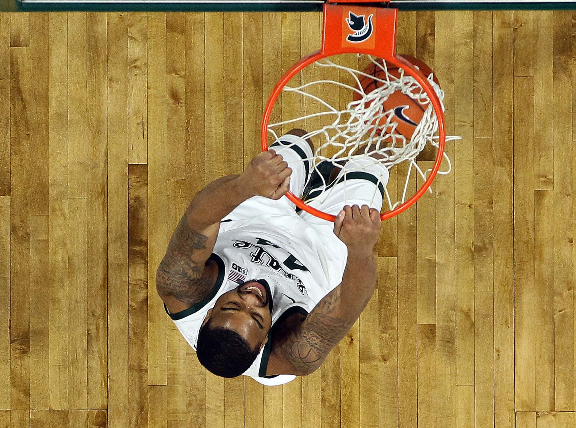 Jan 8, 2019; East Lansing, MI, USA; Michigan State Spartans forward Nick Ward (44) dunks the ball during the first half of a game against the Purdue Boilermakers at the Breslin Center. Mandatory Credit: Mike Carter-USA TODAY Sports
