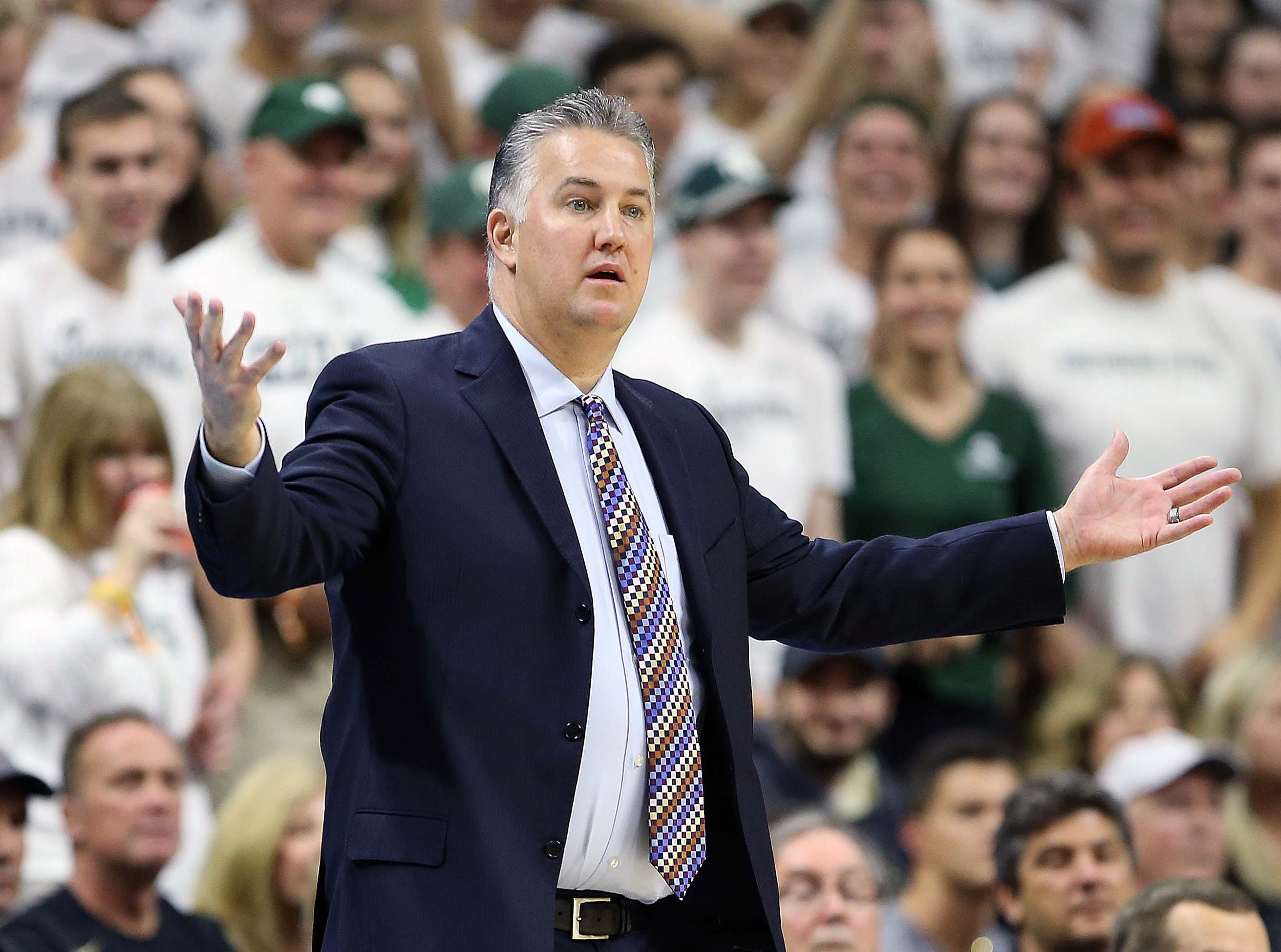 Jan 8, 2019; East Lansing, MI, USA; Purdue Boilermakers head coach Matt Painter reacts during the first half of a game against the Michigan State Spartans at the Breslin Center. Mandatory Credit: Mike Carter-USA TODAY Sports
