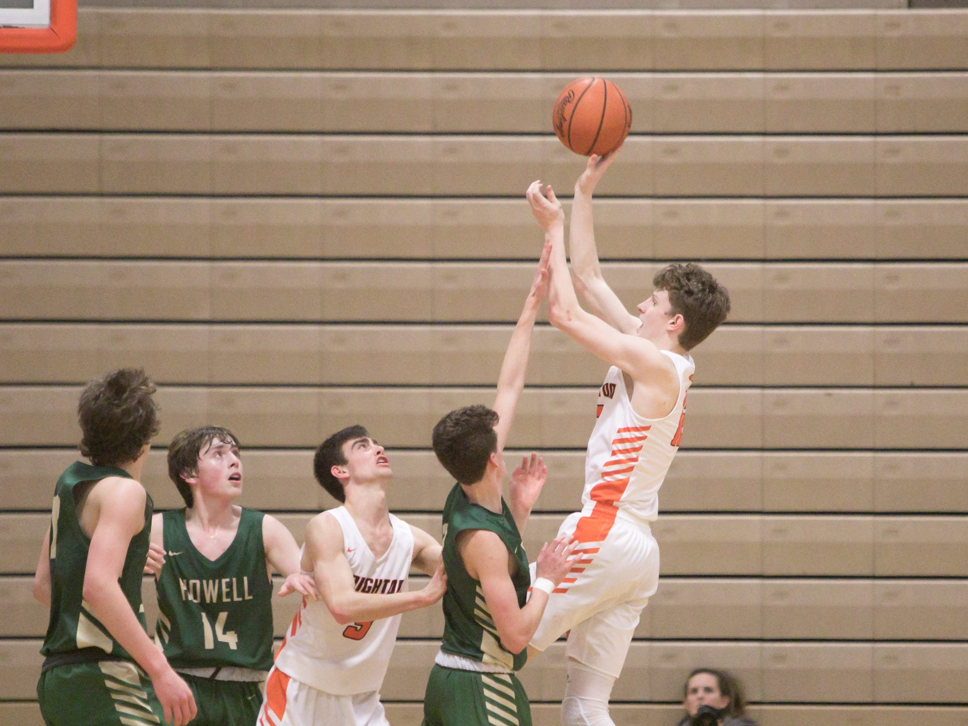 Brighton's Jacob Edwards is fouled during overtime in the home game against Howell Tuesday, Jan. 8, 2019.
