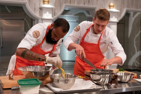 "Contestants Justin Sutherland and Brandon Rosen on episode 6 of Bravo's ""Top Chef: Kentucky."""