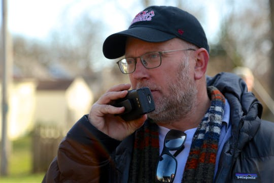 "Producer Stu Pollard during filming of ""Rust Creek"""