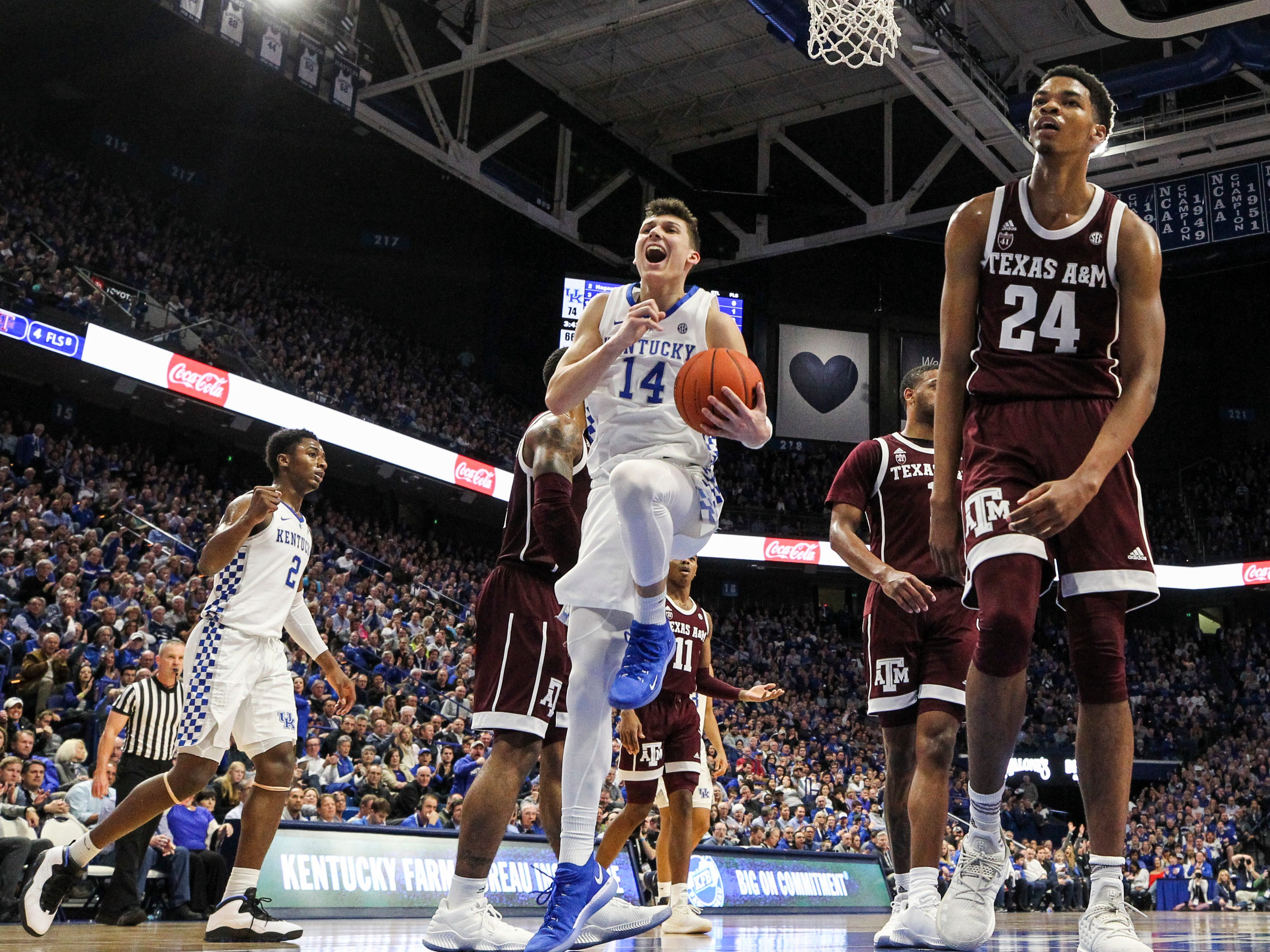Kentucky's Tyler Herro had reason to celebrate Tuesday night at Rupp Arena in Lexington. Herro finished with 21 points as four players off the bench had 23 points in the Wildcats' win over Texas A&M. January 8, 2019