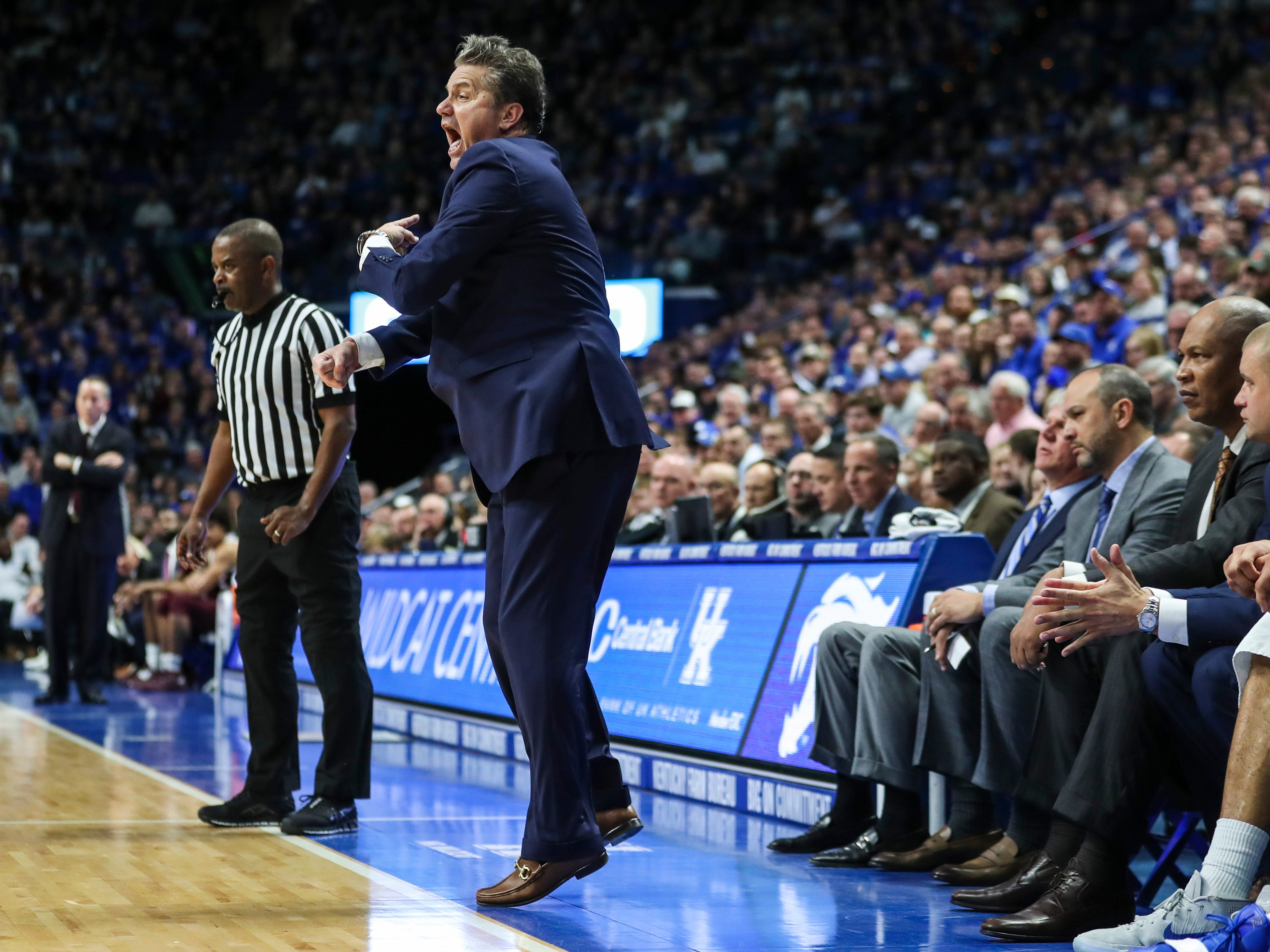 "Kentucky's John Calipari said to his players during the game against Texas A&M: ""I'm not going to stop coaching them. I'm going to tell you when you're doing right. I'm going to tell you when you're doing wrong."""