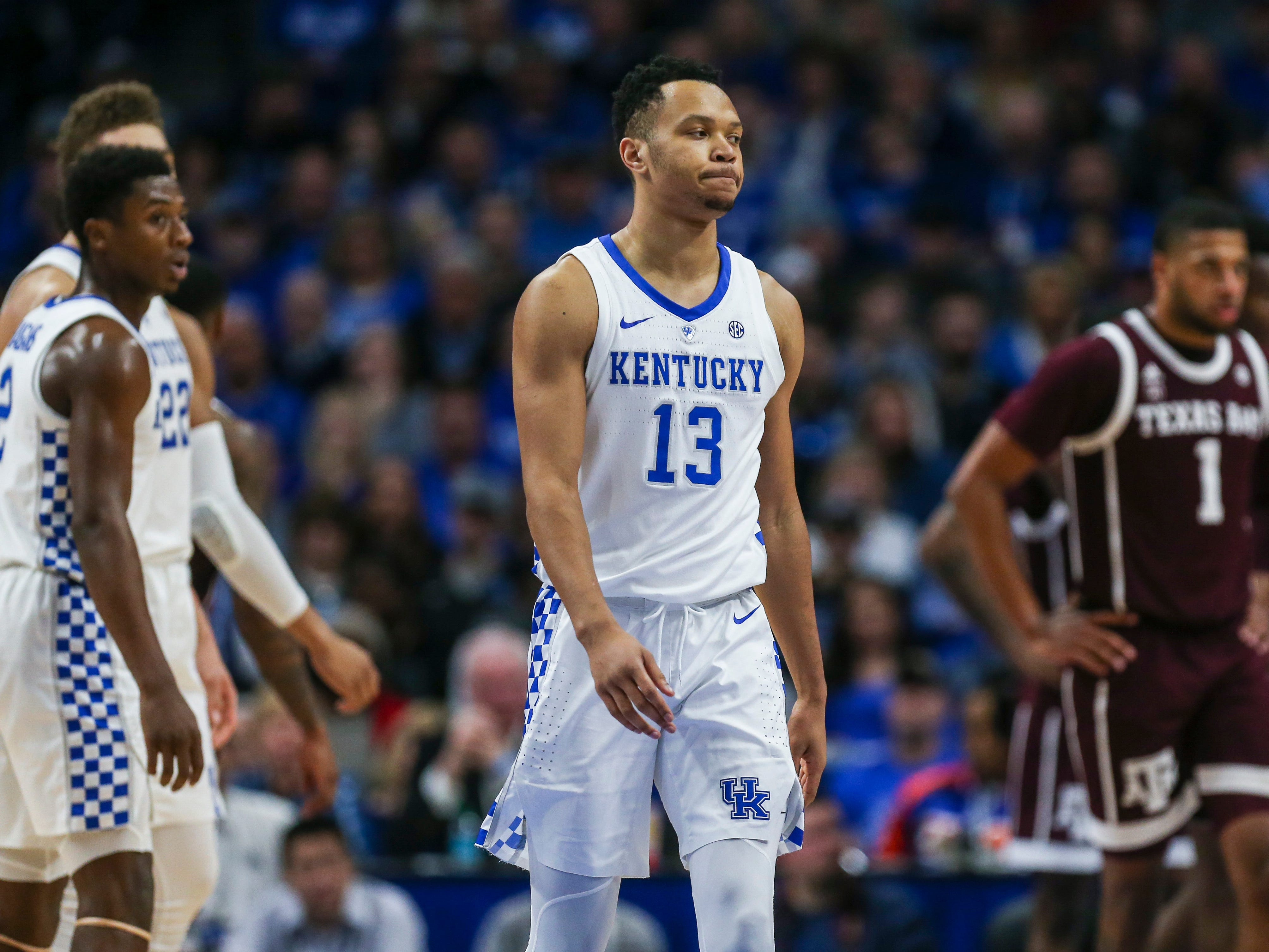 "Kentucky's Jemarl Baker had four rebounds with three assists in the Cats' 85-74 win Jan. 8, 2019 at Rupp Arena. ""I thought (Jemarl) wasn't playing for himself,"" said coach John Calipari after the game. ""If a guy was open, he threw it to him and guess what? It changed a whole complexion of the game."""