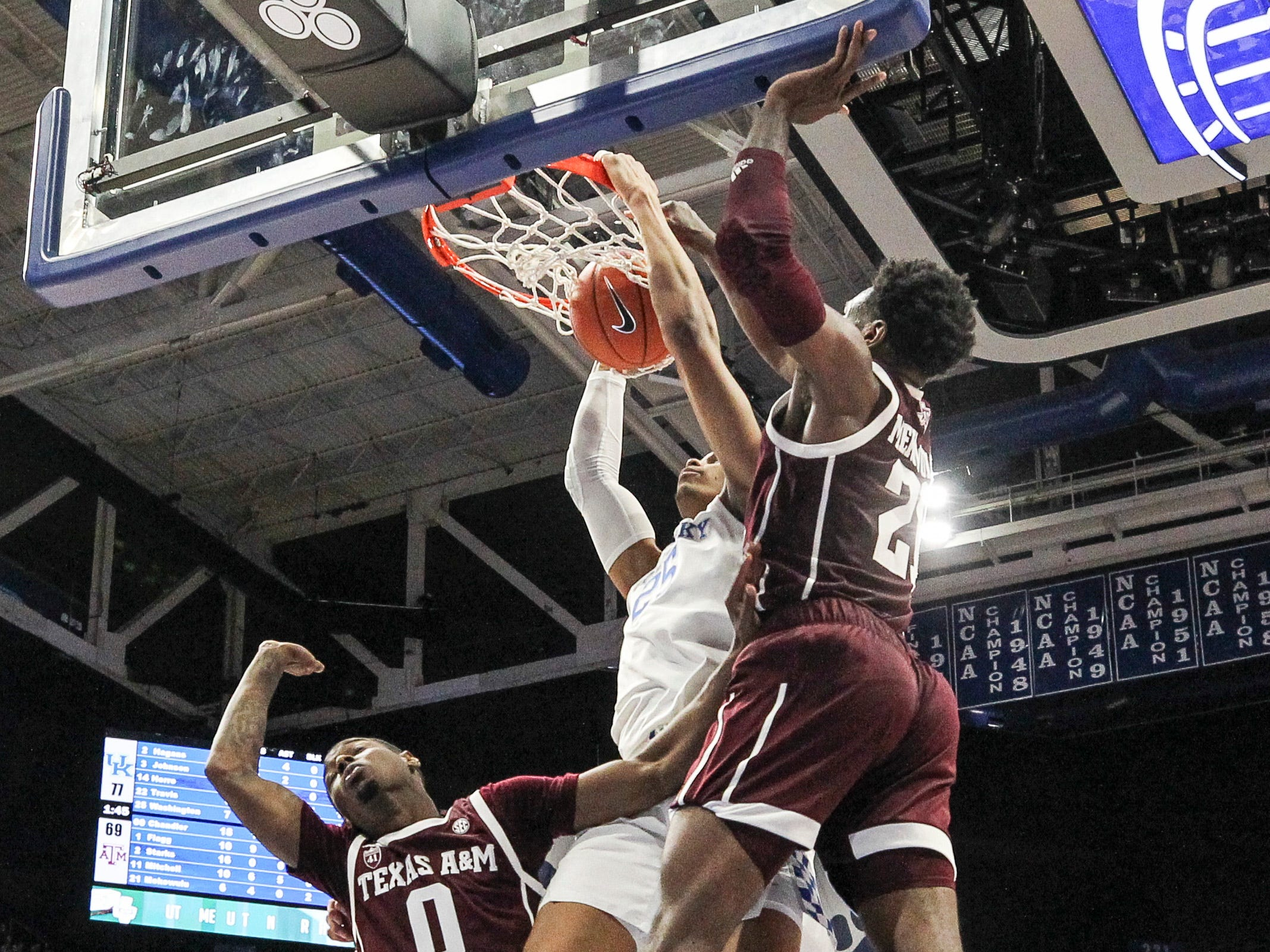 Kentucky's PJ Washington, Jr. had this dunk and nine points with five rebounds in the Cats 85-74 win over Texas A&M Tuesday night. January 8, 2019
