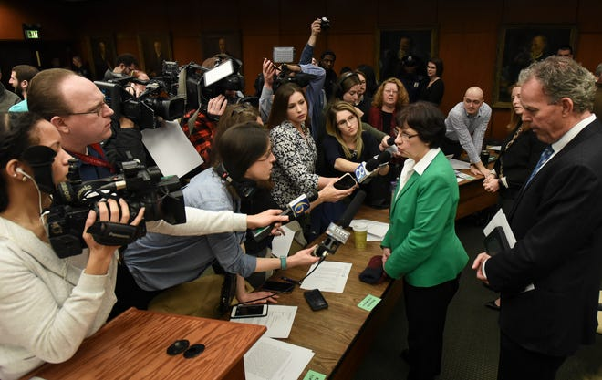 Newly elected MSU Board of Trustees chair Dianne Byrum speaks with the press following the first 2019 Board of Trustees meeting at the Hannah Administration Building in East Lansing. Wednesday, Jan. 9.