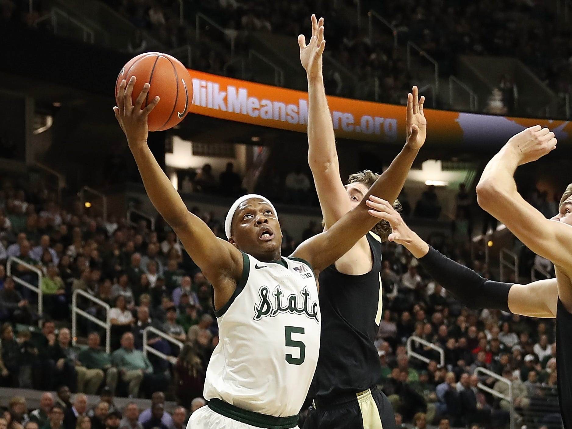 Cassius Winston #5 of the Michigan State Spartans drives to the basket past Evan Boudreaux #12 of the Purdue Boilermakers during the first half at Breslin Center on January 08, 2019 in East Lansing, Michigan.