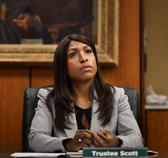 New MSU board member Brianna Scott listens during the first board meeting of 2019 on Jan. 9.