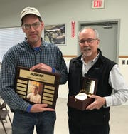 Burger Boat Company Associate of the Year Bill Pauwels with Burger Boat Company President and CEO Jim Ruffolo.