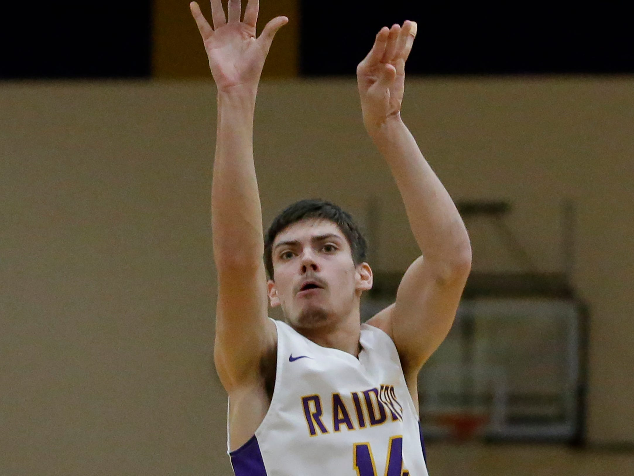 Two Rivers' Trent Van Ess shoots against Green Bay NEW Lutheran at Two Rivers High School Tuesday, January 8, 2019, in Two Rivers, Wis. Joshua Clark/USA TODAY NETWORK-Wisconsin