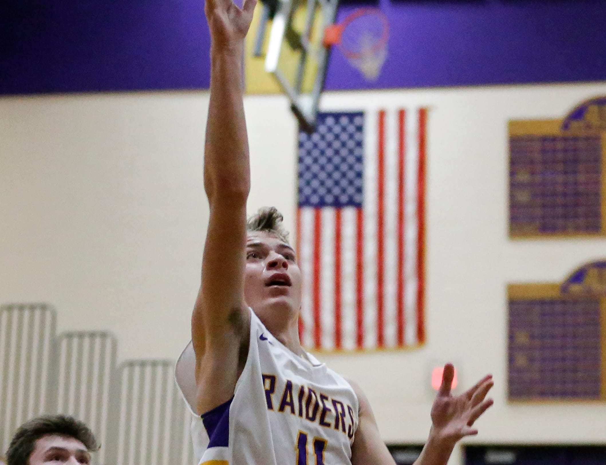 Two Rivers' Alexander Klein shoots against Green Bay NEW Lutheran at Two Rivers High School Tuesday, January 8, 2019, in Two Rivers, Wis. Joshua Clark/USA TODAY NETWORK-Wisconsin
