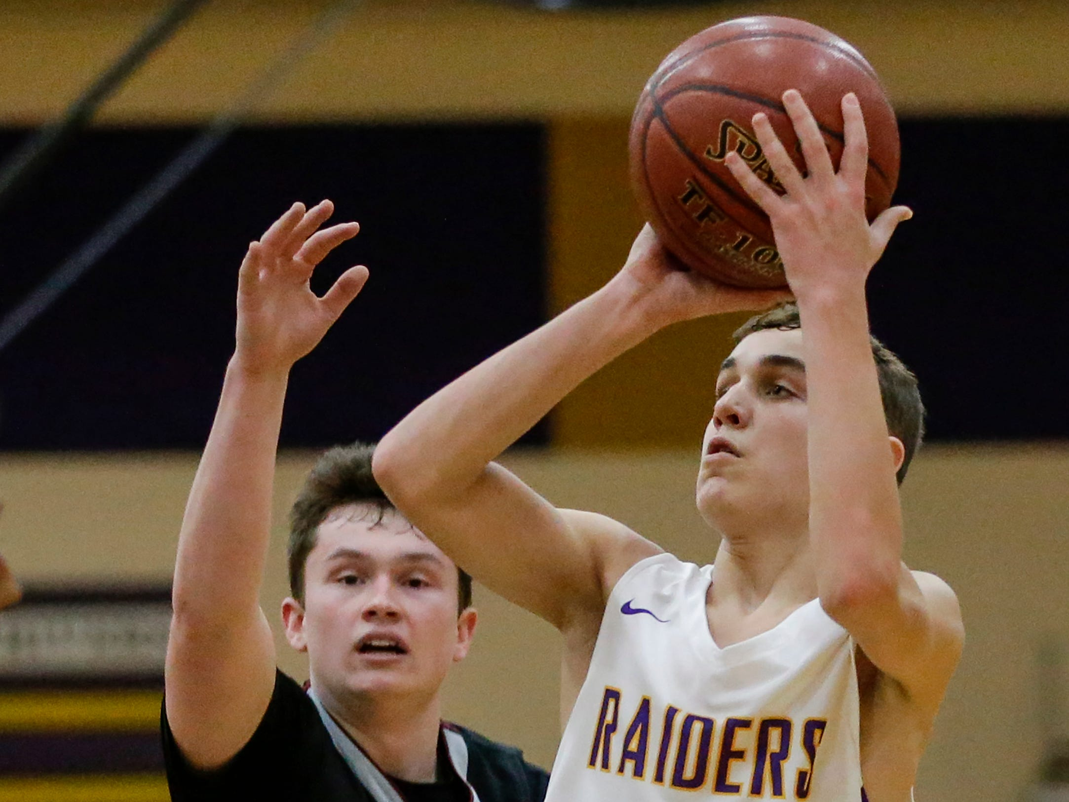 Two Rivers' Cameron Daffner shoots against Green Bay NEW Lutheran at Two Rivers High School Tuesday, January 8, 2019, in Two Rivers, Wis. Joshua Clark/USA TODAY NETWORK-Wisconsin