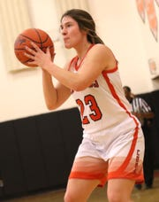 Lucas' Paige Arnold makes a shot while playing against Temple Christian on Tuesday.