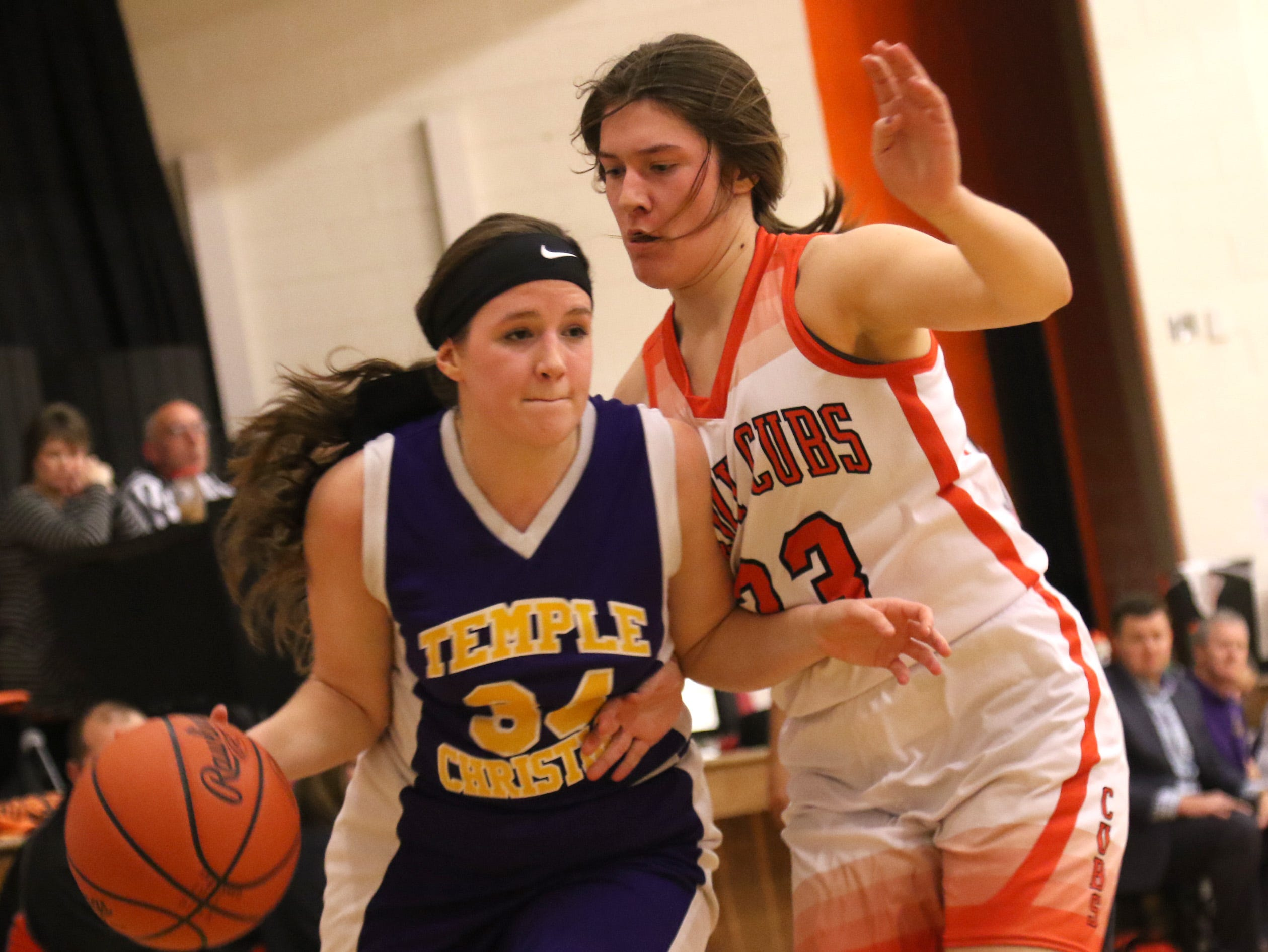 Temple Christian's Carmen Giess on moves the ball while playing at Lucas on Tuesday.