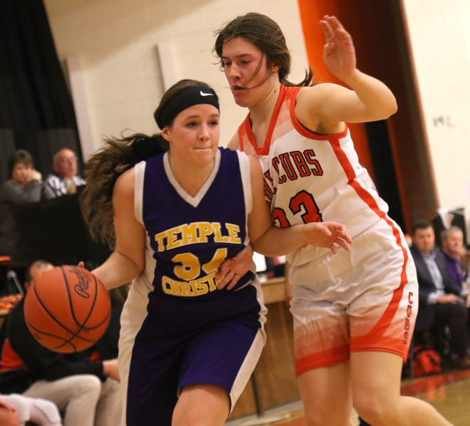 Temple Christian's Carmen Giess on moves the ball while playing at Lucas earlier this season.