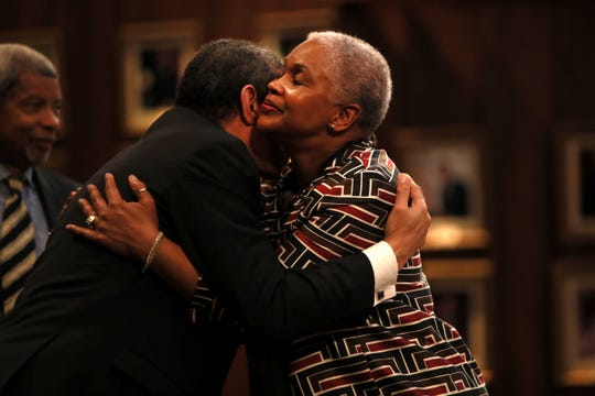 Gerre Currie is embraced by fellow candidate Edmond Ford Sr. after she won the vote to represent District 6 seat during a City Council meeting downtown on Tuesday, Jan. 8, 2019.