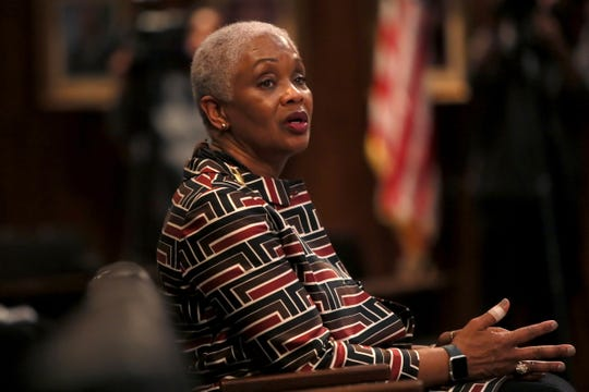Gerre Currie listens to fellow council members after winning the vote to represent the District 6 seat on the Memphis City Council during a meeting Jan. 8.