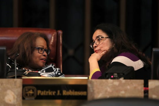 Newly elected Super District 8-2 representative Cheyenne Johnson, right, chats with City Council member Patrice Robinson, who herself was elected Vice Chair, during their meeting downtown on Tuesday, Jan. 8, 2019.