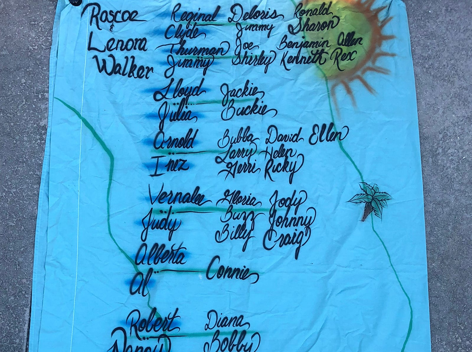 A sheet was decorated with family-inspired graphics for a 1983 Walker reunion. Robert Walker Sr., born on Marco Island in 1921, celebrated his 98th birthday on Sunday, Jan. 6 at his home in Cross City, Florida.