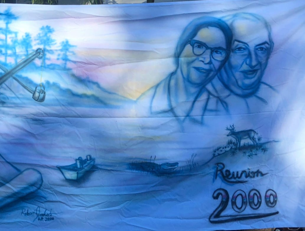 A sheet was decorated with family-inspired graphics for a 2000 reunion. Robert Walker Sr., born on Marco Island in 1921, celebrated his 98th birthday on Sunday, Jan. 6 at his home in Cross City, Florida.