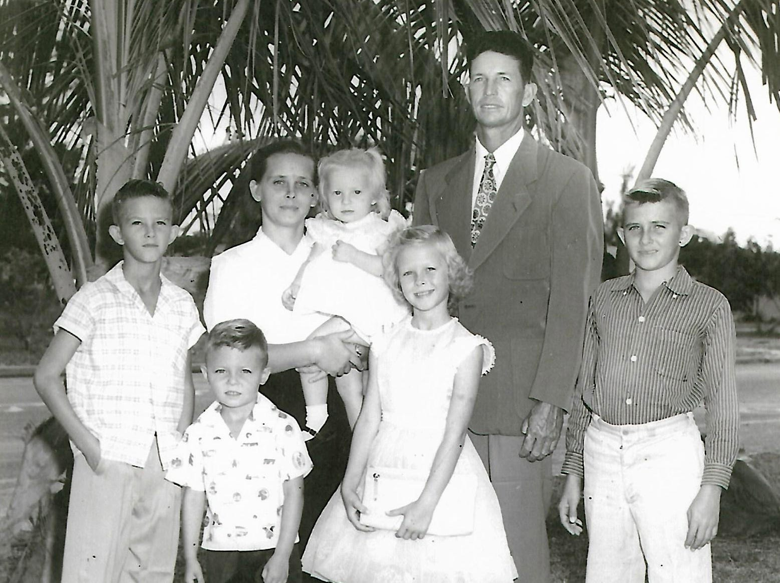 Robert Walker Sr., born on Marco Island in 1921, with his family in this undated photo. He celebrated his 98th birthday on Sunday, Jan. 6 at his home in Cross City, Florida.