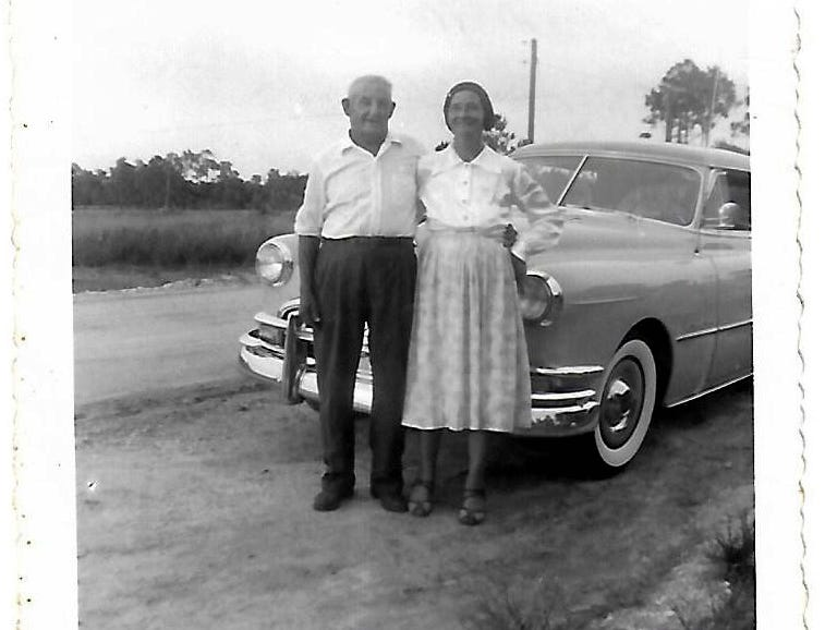 Robert Walker Sr. and his wife Inez with a new car. Born on Marco Island in 1921, Robert celebrated his 98th birthday on Sunday, Jan. 6 at his home in Cross City, Florida.
