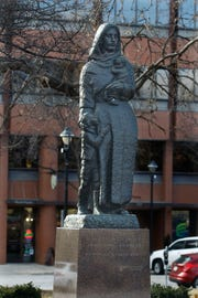 A statue dedicated to immigrant mothers has been in Milwaukee's Cathedral Square since 1960.