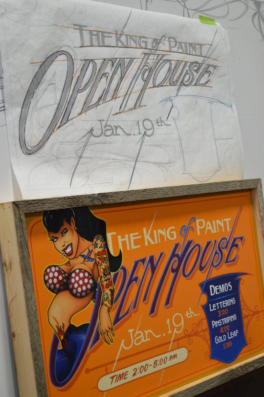 Jeff Williams created this sign for The King of Paint's open house, which is from 2 to 8 p.m. Jan. 19.