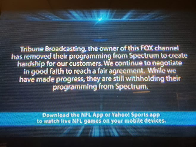 On WITI-TV's spot on Spectrum's channel lineup, the cable company is broadcasting a message blaming WITI's owner, Tribune Broadcasting, for the impasse between the two sides.