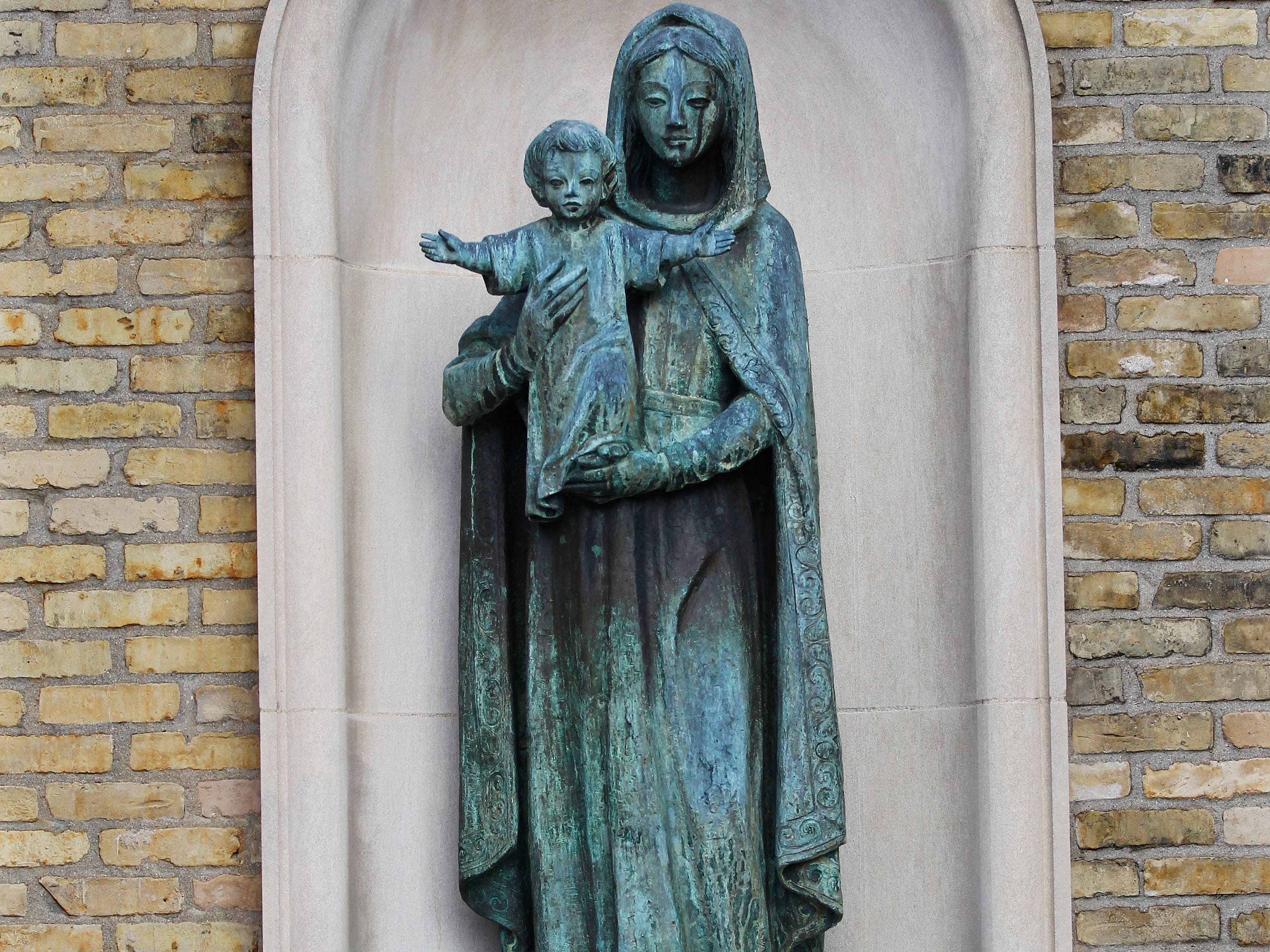 The Virgin Mary with baby Jesus statue at the Cathedral of St. John the Evangelist at 802 N. Jackson St.