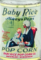 Tins from the Baby Rice Pop Corn Co., based in Waterloo from 1898 to 1930, have become highly collectible, according to Bill Morford of William Morford Antiques in New York.