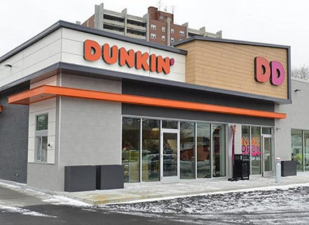 A photograph shows the type of Dunkin' Donuts' restaurant that is being built at 76th Street and Cold Spring Road in Greenfield. The developer is hoping to have the restaurant open by the end of August.