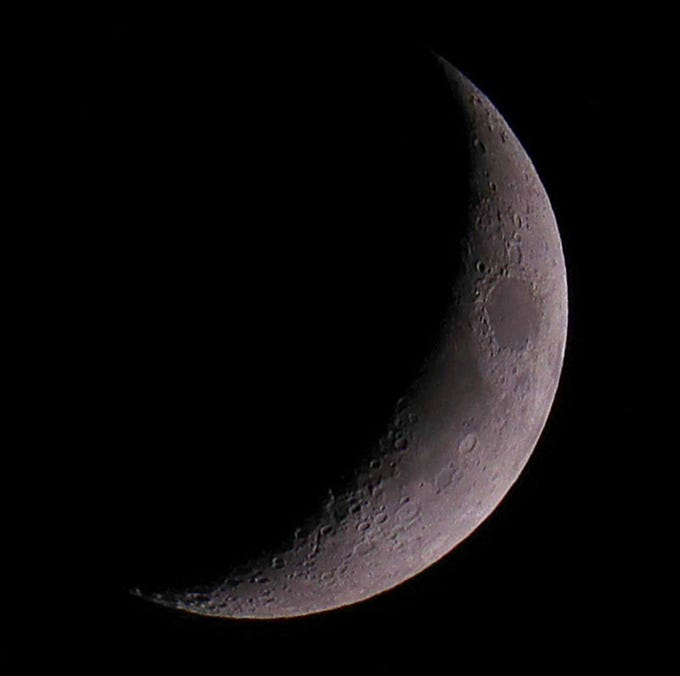 An 18.8 percent Waxing crescent moon seen from Marquette University on  Sept. 13, 2018.