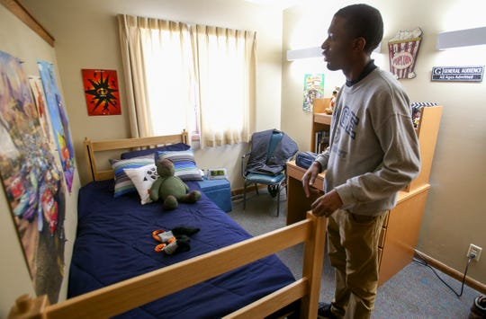 Ben Page in his room in an apartment at Shepherds College, a school for students with intellectual disabilities. Students gain skill and responsibilities as they transition from dorm to home then apartment living.