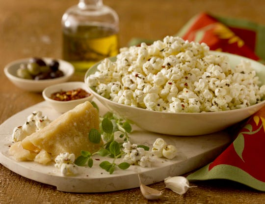 Italian Popcorn calls for olive oil, dried herbs and Parmesan cheese.