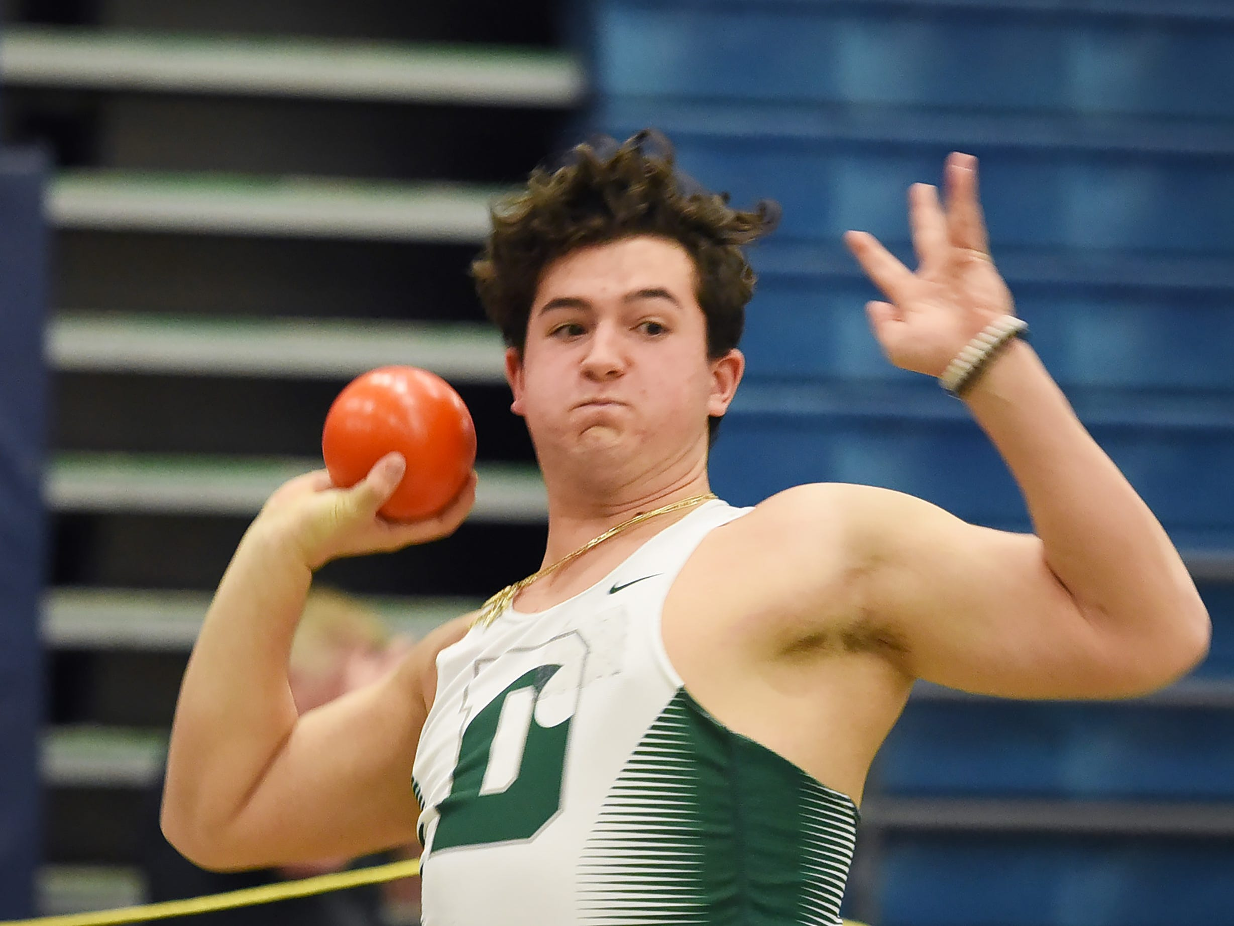 Danny Hajjar of Delbarton prepares to put the shot at Morris County Relays at Drew University in Madison on 01/09/19.