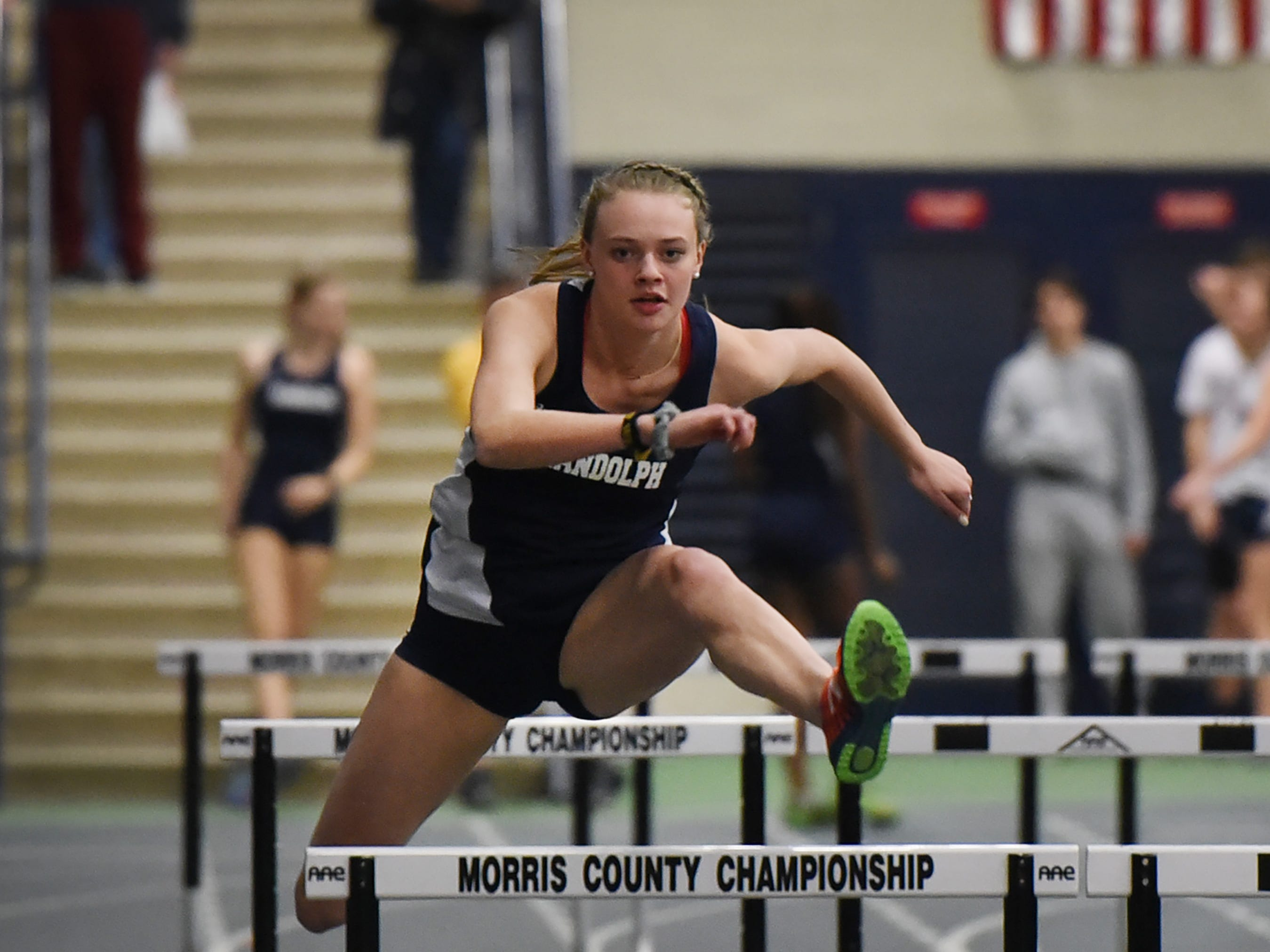 Randolph senior Meghan O'Malley, who has signed a National Letter of Intent with Wake Forest, competes in shuttle hurdles at Morris County Relays at Drew University in Madison on 01/09/19.