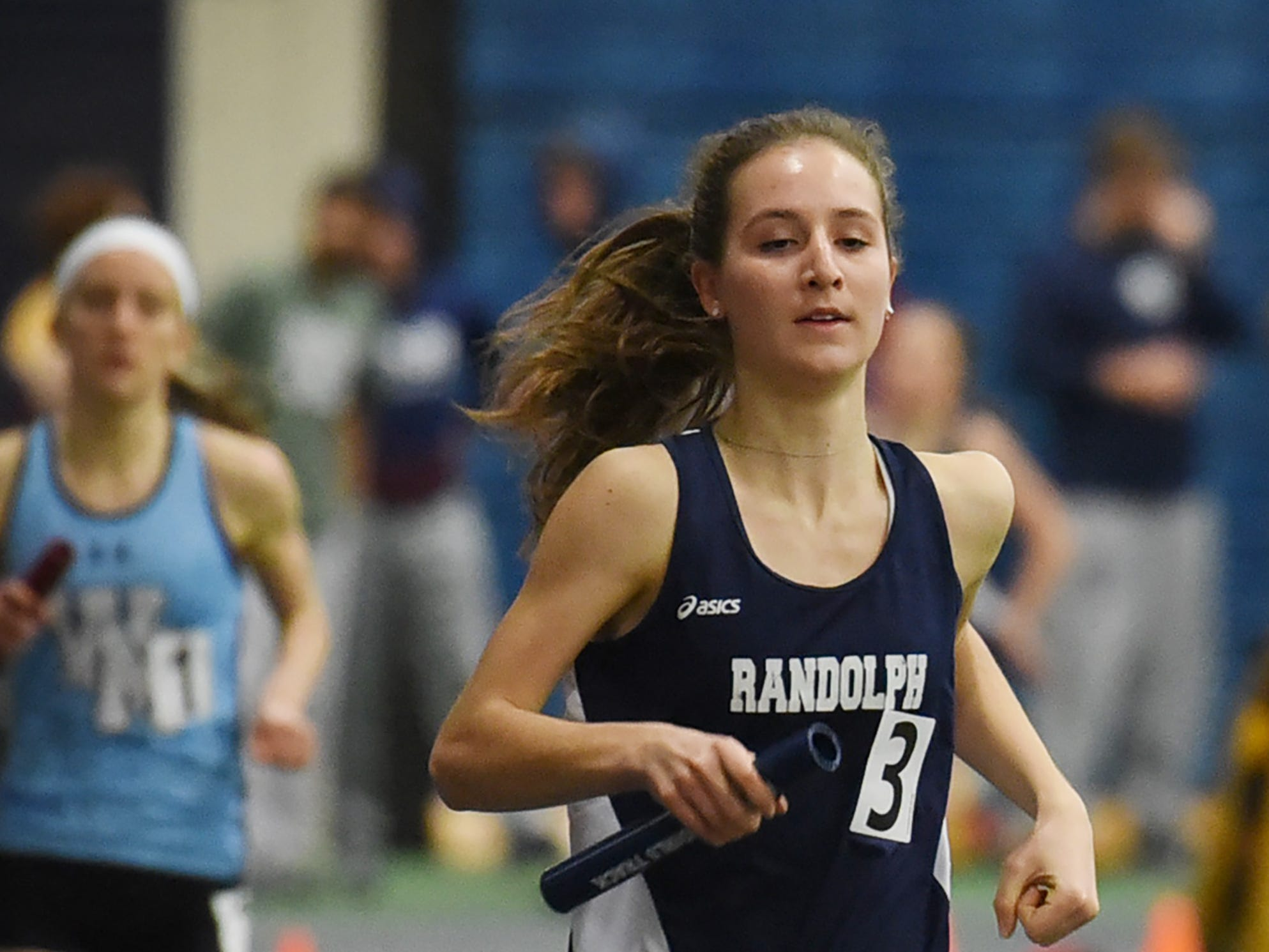Randolph senior Abby Loveys crosses the line first in the distance medley at Morris County Relays at Drew University in Madison on 01/09/19.