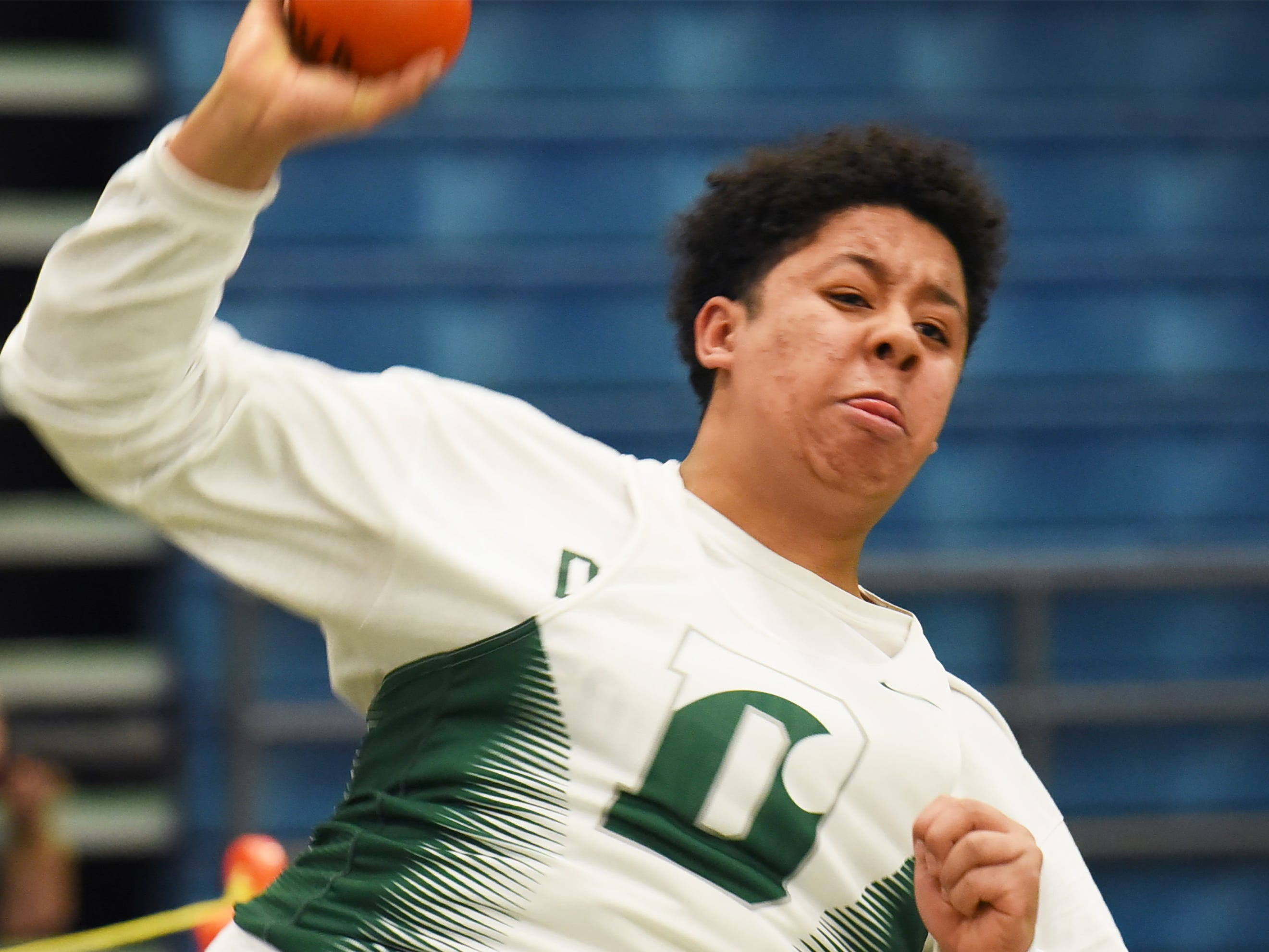 Elijah Hills of Delbarton competes in the shot put at Morris County Relays at Drew University in Madison on 01/09/19.