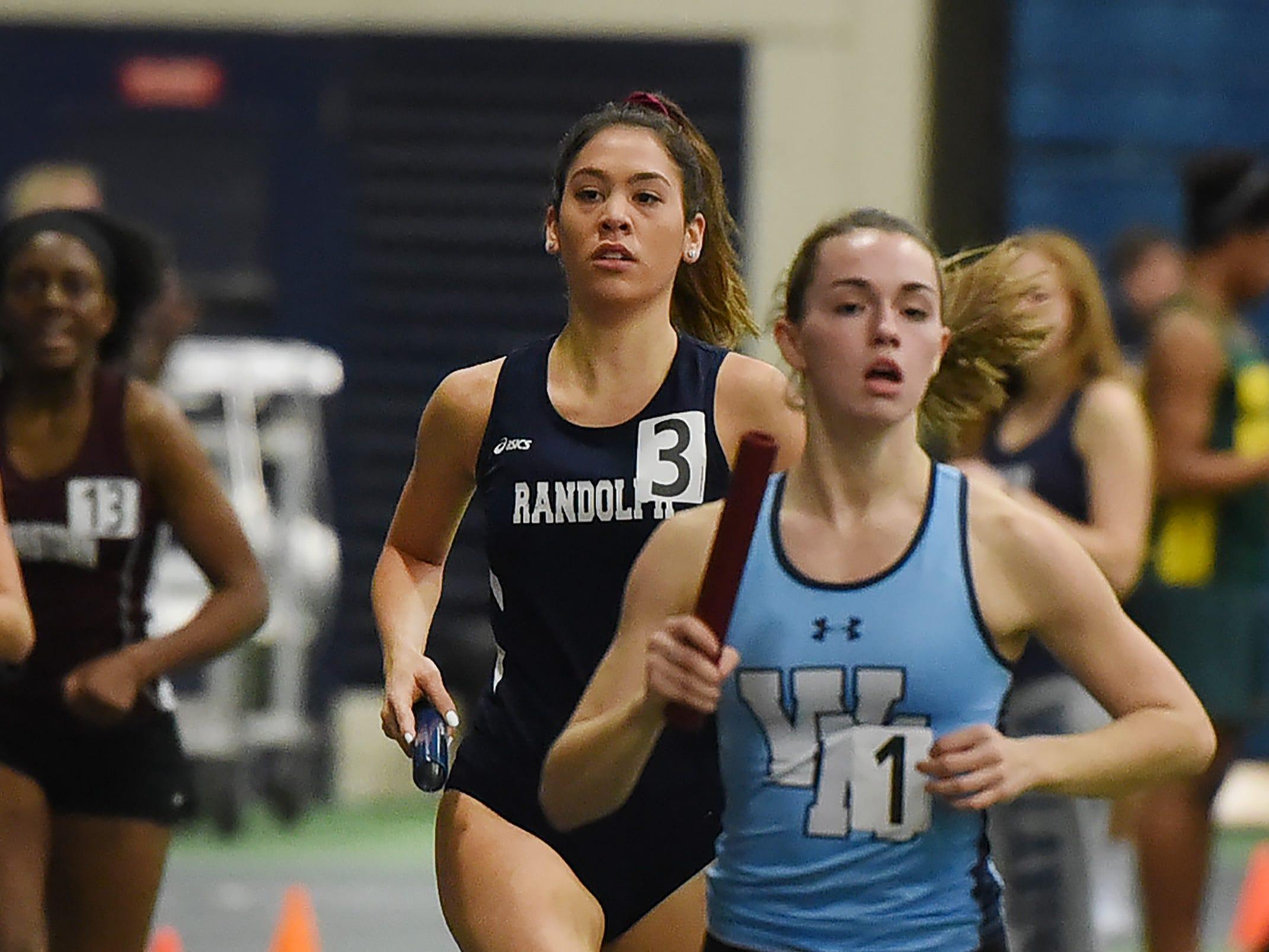 Amanda Houston (C) runs the 800-meter leg of Randolph's distance medley at Morris County Relays at Drew University in Madison on 01/09/19.
