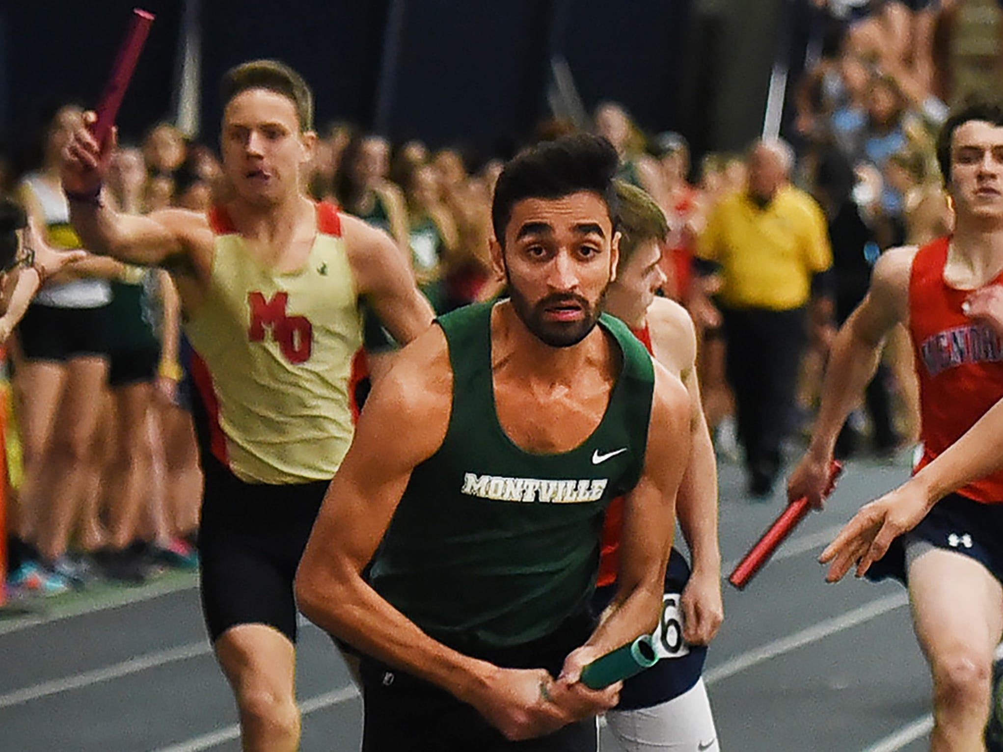 Montville senior Noman Saeed of   carries the baton in the 4x200 during Morris County Relays at Drew University in Madison on 01/09/19.