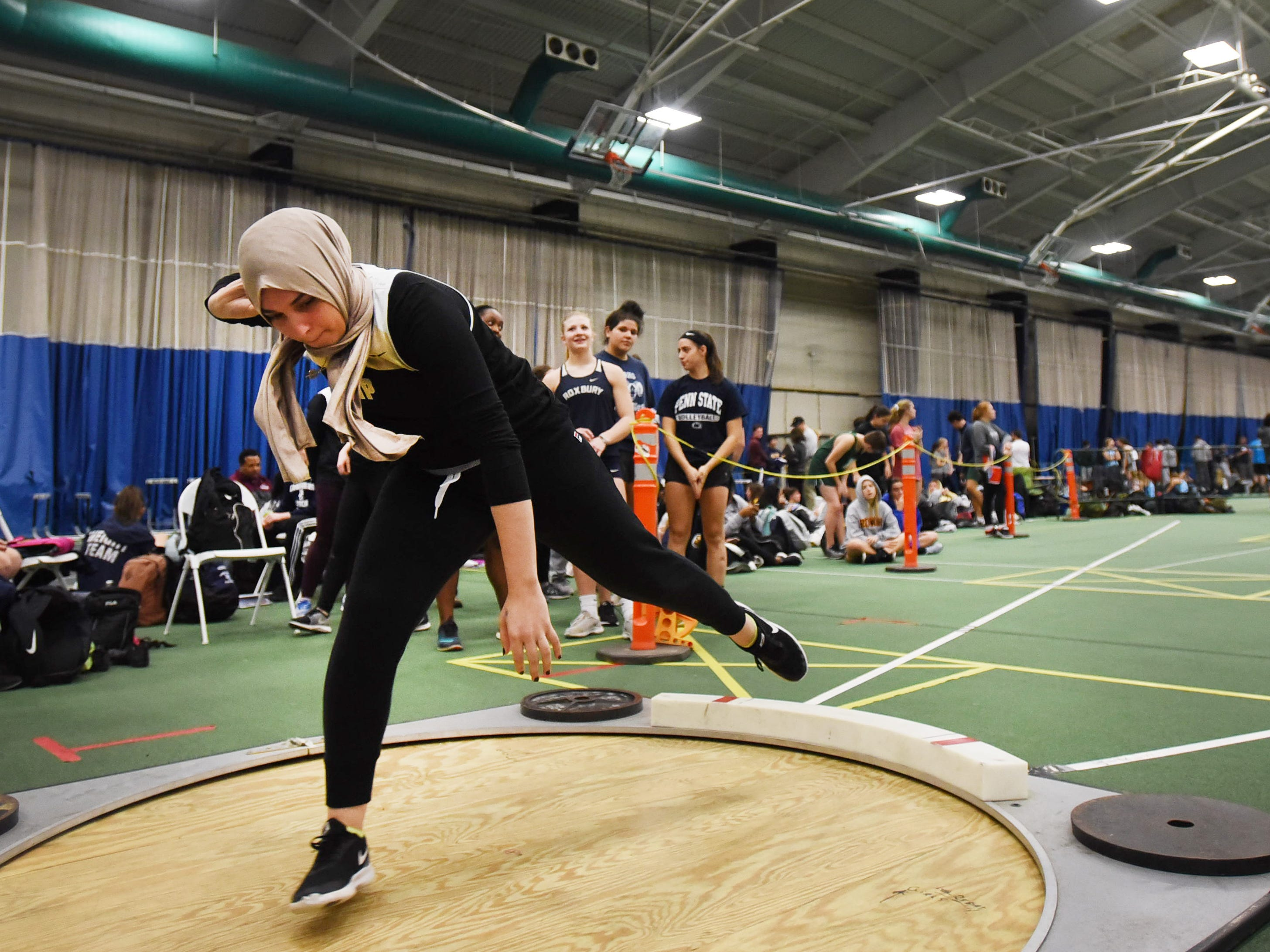 Hanover Park junior Rania Benatia competes in shot put at Morris County Relays at Drew University in Madison on 01/09/19.