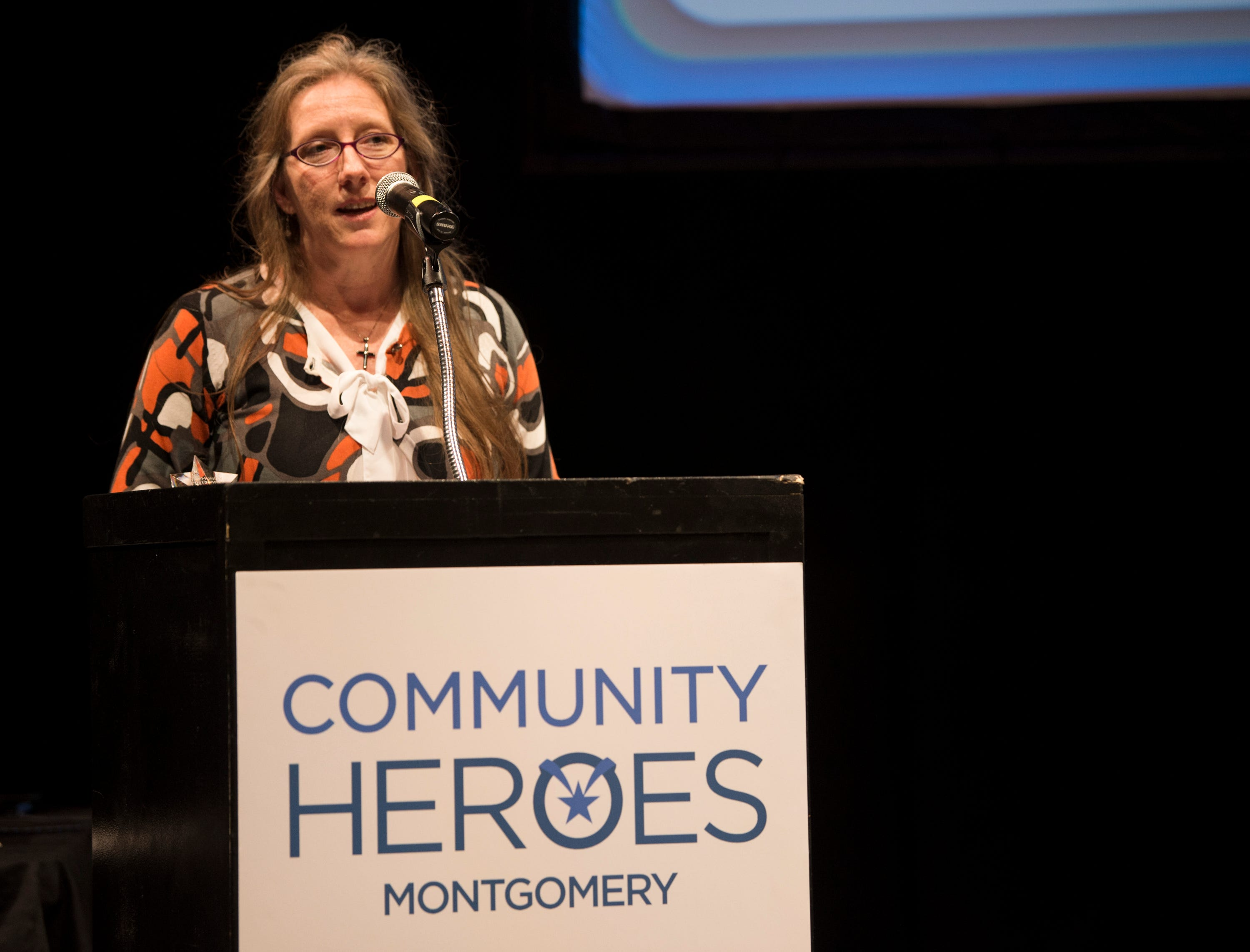 Community Hero of the year LaDonna Brendle speaks during the Community Heroes awards ceremony at Alabama Shakespeare Festival in Montgomery, Ala., on Tuesday, Jan. 8, 2019.