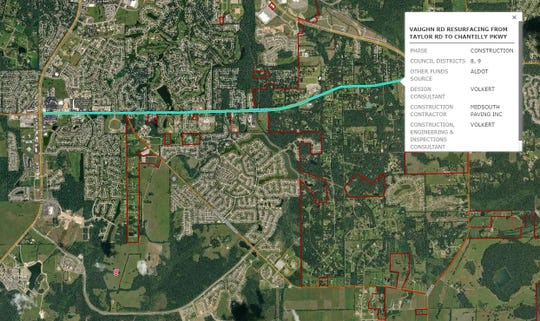 Vaughn Road resurfacing project from the city of Montgomery's Open Data portal