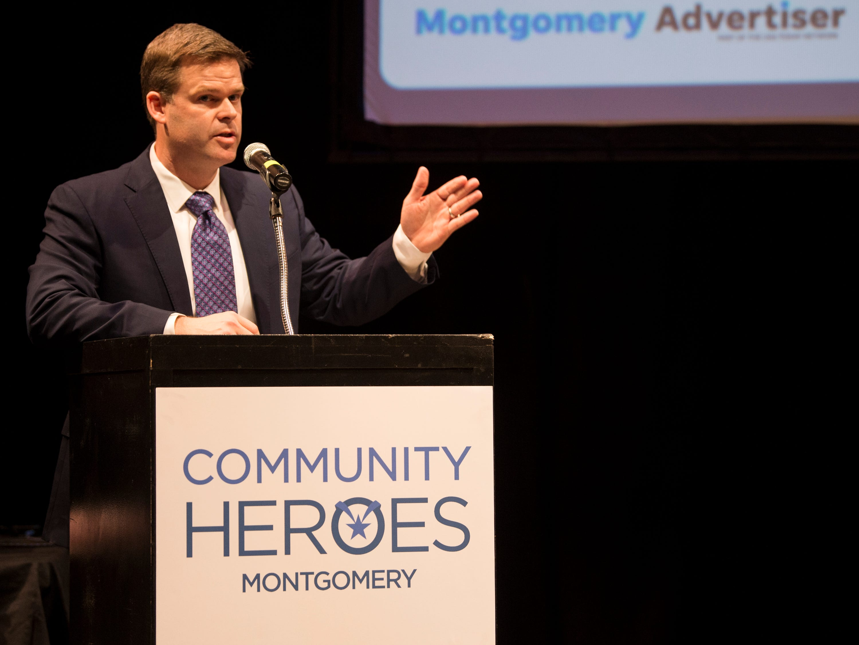 Montgomery Advertiser executive editor Bro Krift during the Community Heroes awards ceremony at Alabama Shakespeare Festival in Montgomery, Ala., on Tuesday, Jan. 8, 2019.