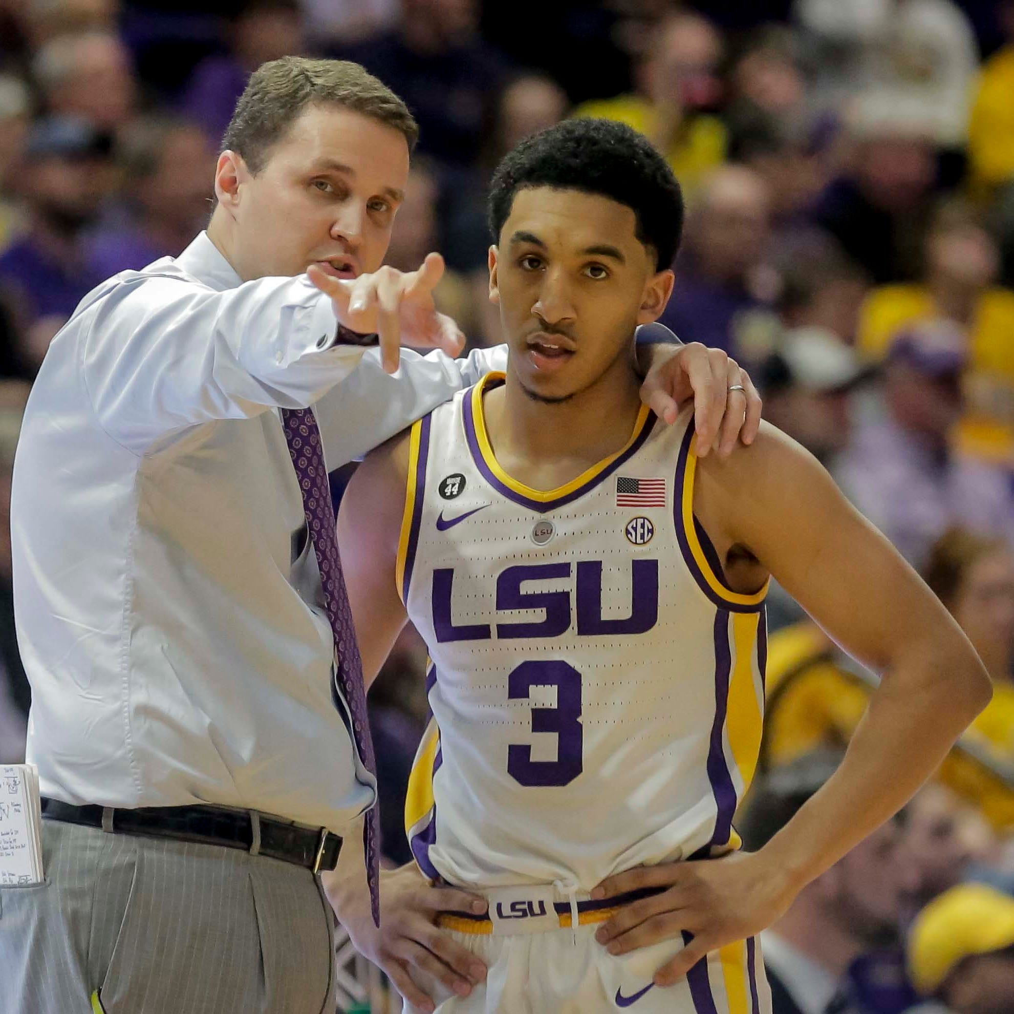 It's too early for the NCAA Tournament, but LSU's basketball coach is already dancing