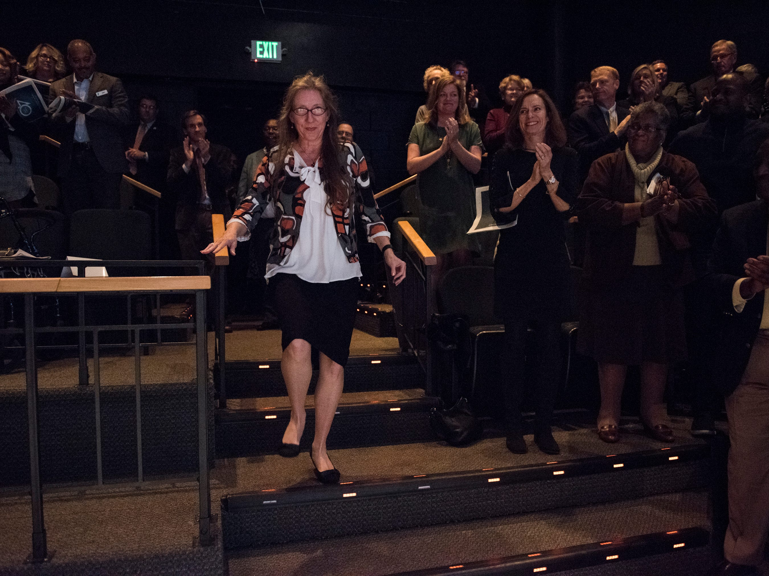LaDonna Brendle gets a standing ovation as she his awarded the Community Hero of the year award during the Community Heroes awards ceremony at Alabama Shakespeare Festival in Montgomery, Ala., on Tuesday, Jan. 8, 2019.