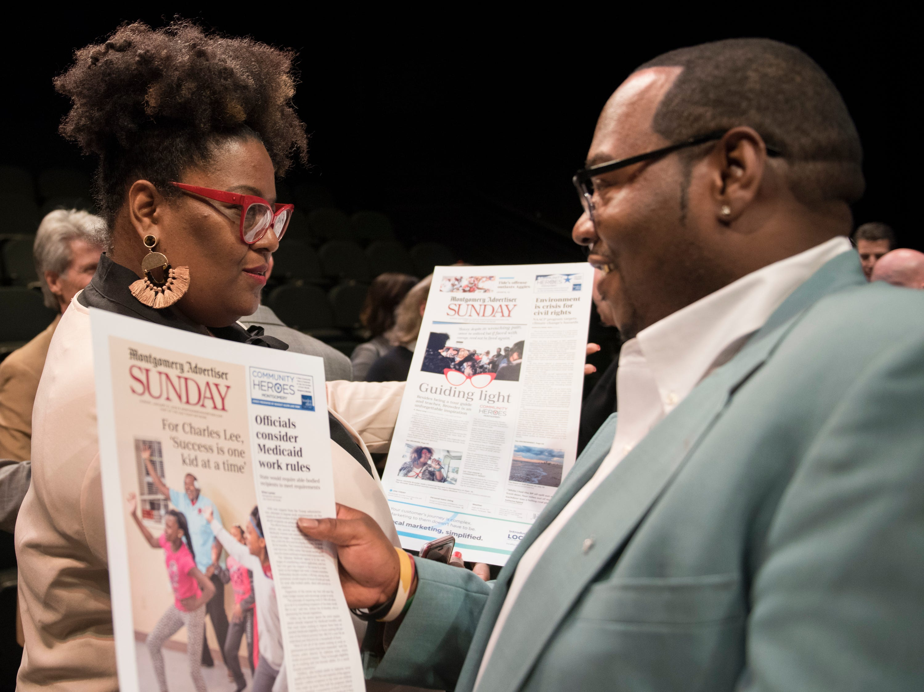 Community Heroes Michelle Browder and Charles Lee speak during the Community Heroes awards ceremony at Alabama Shakespeare Festival in Montgomery, Ala., on Tuesday, Jan. 8, 2019.