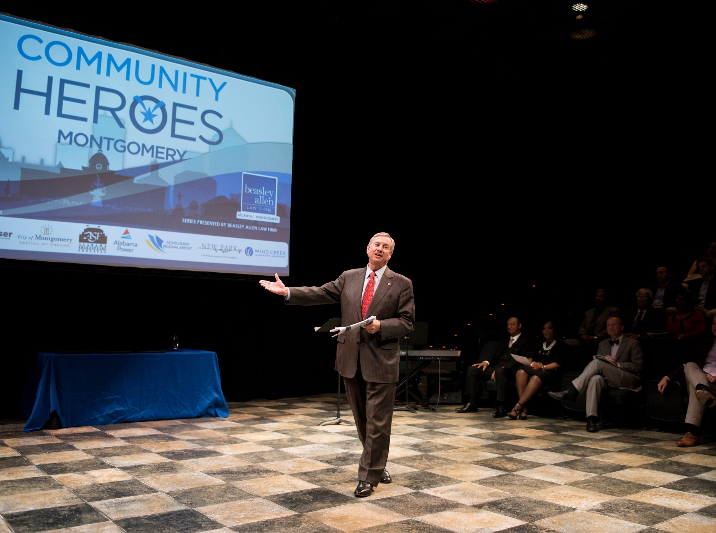 Mayor Todd Strange speaks during the Community Heroes awards ceremony at Alabama Shakespeare Festival in Montgomery, Ala., on Tuesday, Jan. 8, 2019.