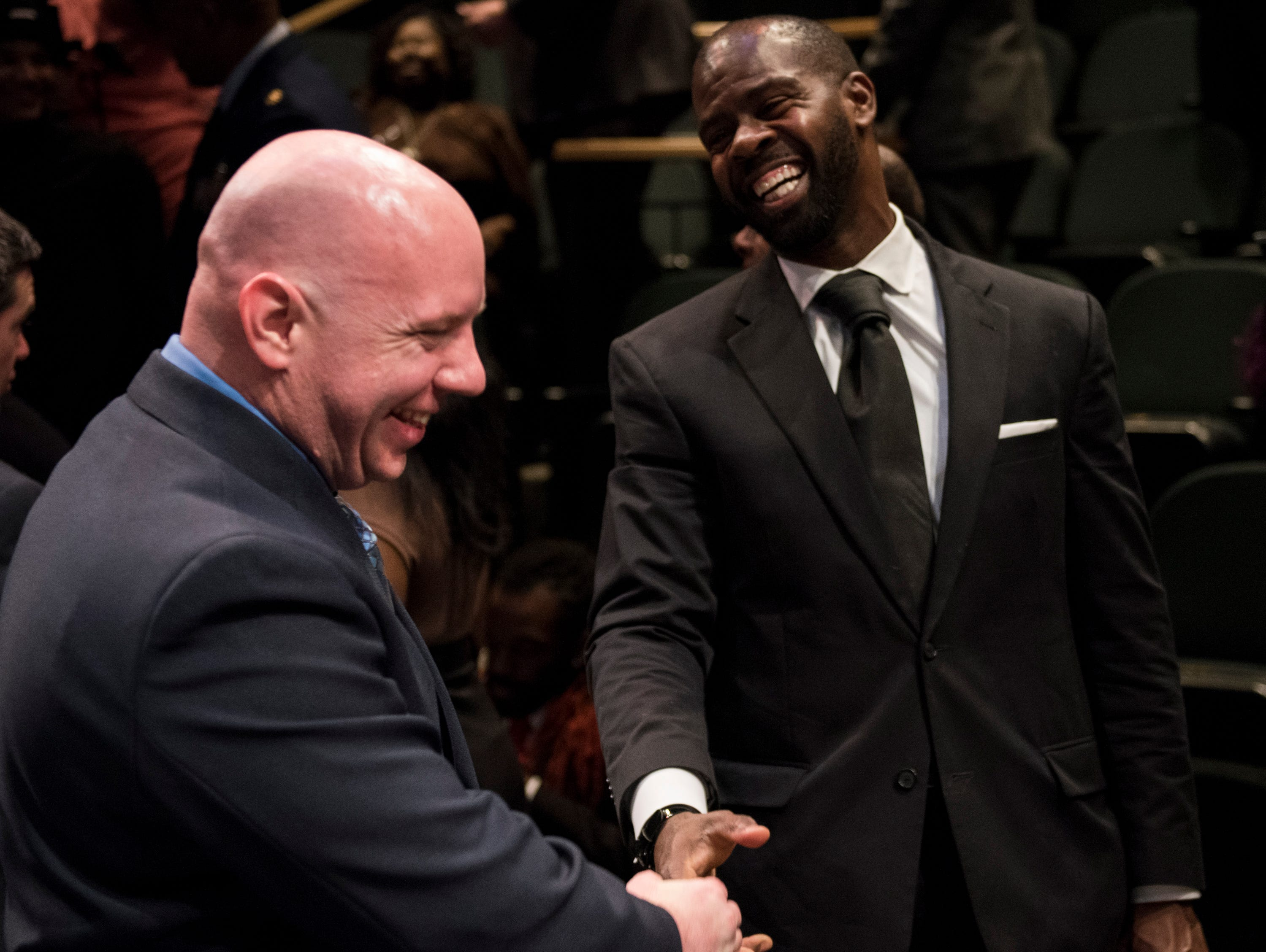 Community Heroes Bryan Goza and Thomas Tullis joke during the Community Heroes awards ceremony at Alabama Shakespeare Festival in Montgomery, Ala., on Tuesday, Jan. 8, 2019.